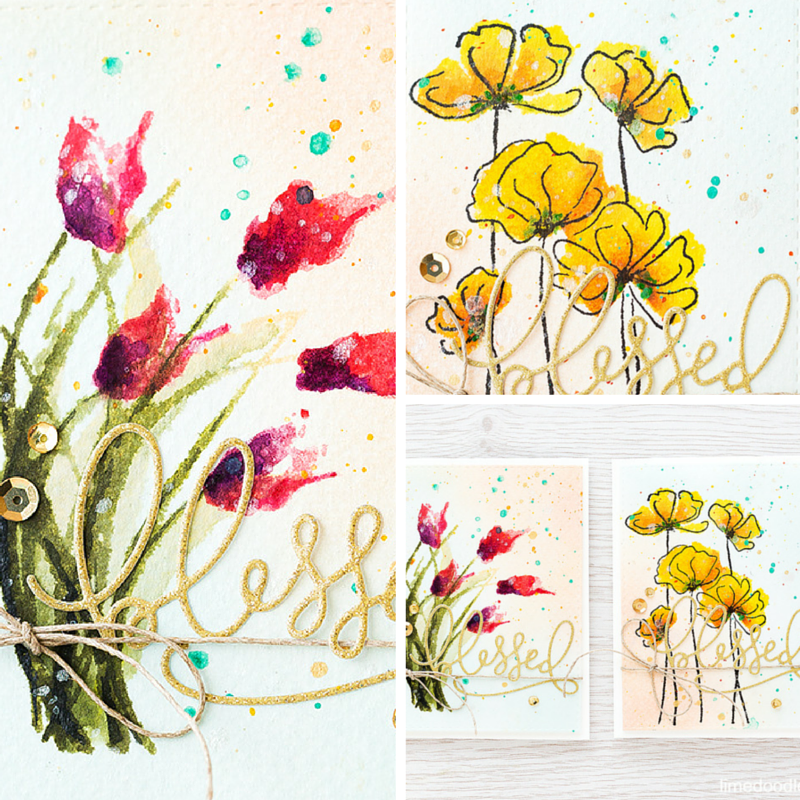 Multi-step stamping to give a free-hand watercolor look. Find out more by clicking the following link: https://limedoodledesign.com/2015/11/multi-step-stamping-giveaway/