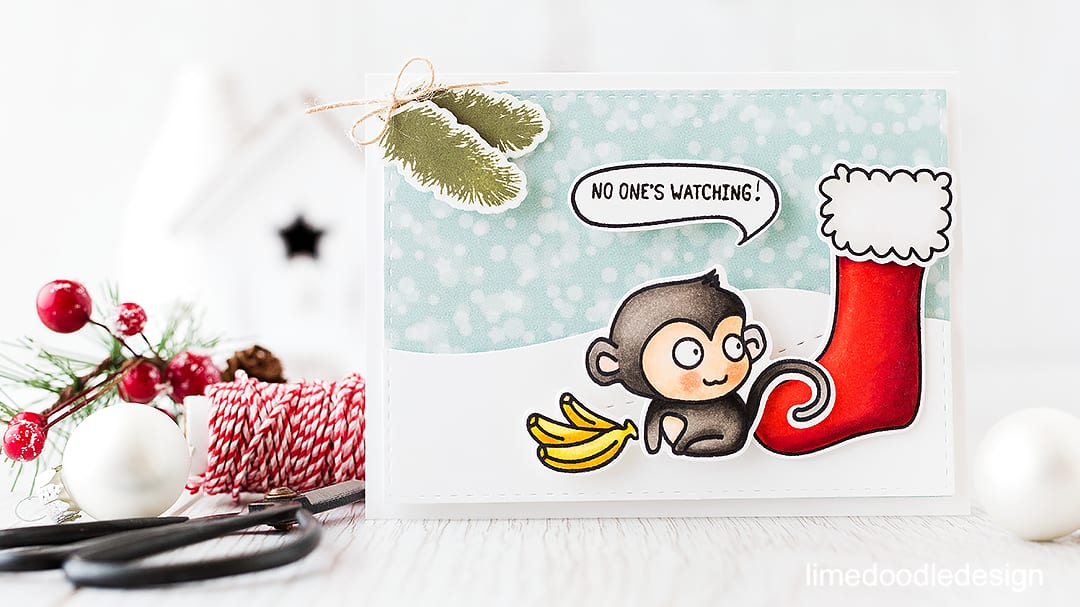 Cheeky monkey taking an early peek in his stocking! Find out more by clicking on the following link: https://limedoodledesign.com/2015/11/video-cheeky-monkey-giveaway/