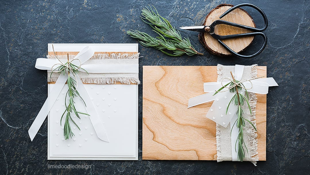 Combining soft colors with natural materials in this card and envelope duo. Find out more by clicking on the following link: https://limedoodledesign.com/2015/11/natural-materials-giveaway/