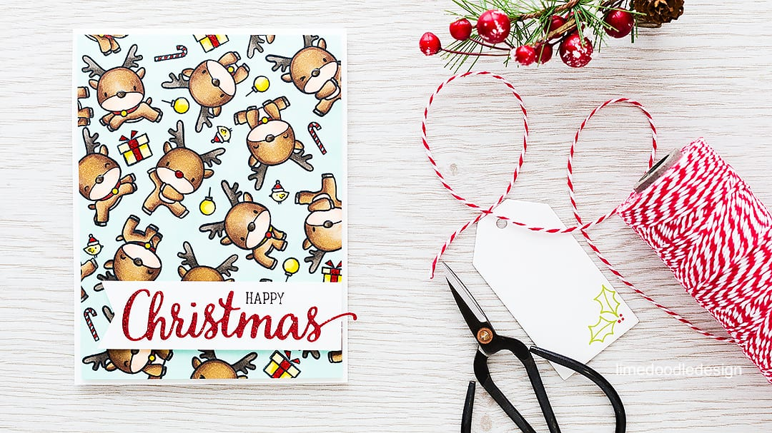 Herd of reindeer Christmas card! Find out more by clicking on the following link: https://limedoodledesign.com/2015/11/a-herd-of-reindeer-giveaway/