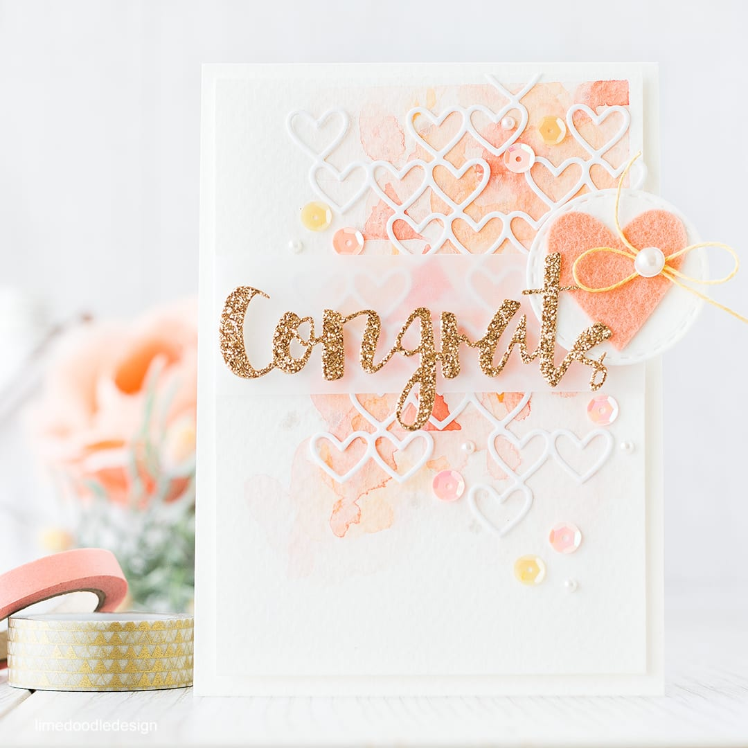 Inspired by color - this card was inspired by a peaches/cream, watercolor with a pop of gold I saw on Pinterest. Find out more by clicking the following link: https://limedoodledesign.com/2015/12/inspired-by-color/ card congrats watercolor watercolour heart