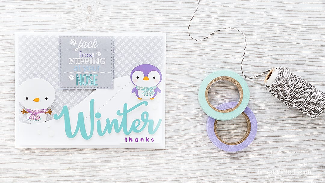Winter thanks - the January Card Kit from Simon Says Stamp is filled with icy cuteness great for winter birthdays and Christmas thank yous. https://limedoodledesign.com/2015/12/winter-thanks/