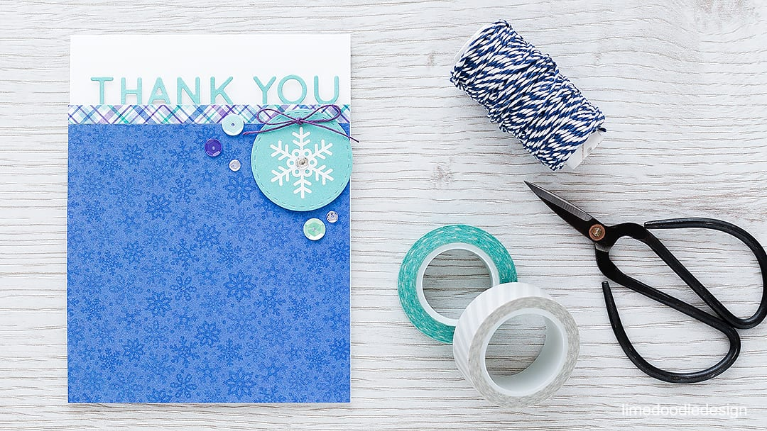 It's always good to have Holiday thank you cards around at this time of year. Find out more by clicking the following link: https://limedoodledesign.com/2015/12/holiday-thanks/ card thank you snowflake winter