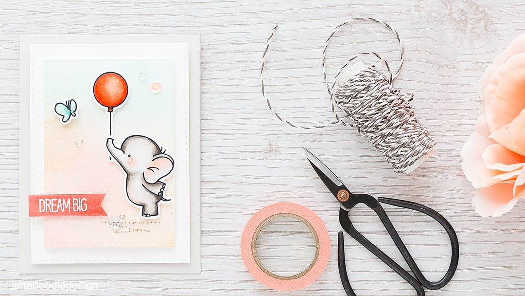 Simple and sweet card for this cute little elephant. Find out more by clicking the following link: https://limedoodledesign.com/2016/01/simple-and-sweet/