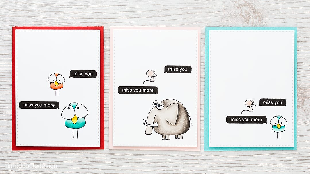 Fun texting animals make a quick and easy 'Missing You' card set. Find out more by clicking the following link: https://limedoodledesign.com/2016/01/texting/