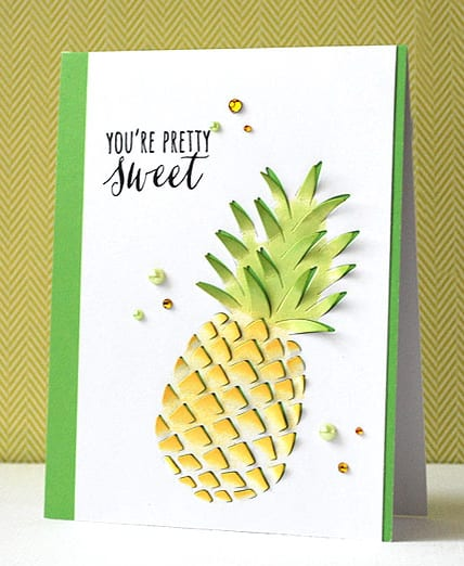 Hero Arts pineapple die. Find out more by clicking the following link: https://limedoodledesign.com/2016/01/february-card-kit-cha/