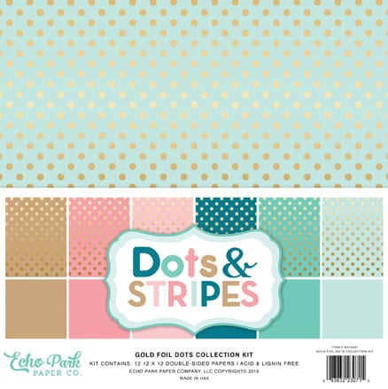 Colors from CHA: Echo Park gold foil dots collection. Find out more by clicking the following link: https://limedoodledesign.com/2016/01/february-card-kit-cha/