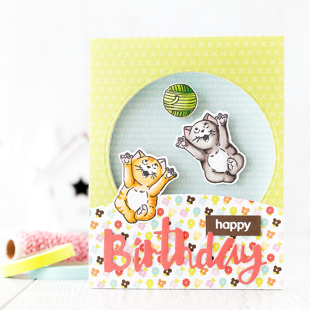 Fun cat spinner card. Find out more by clicking the following link: https://limedoodledesign.com/2016/02/cat-spinner-card/ birthday