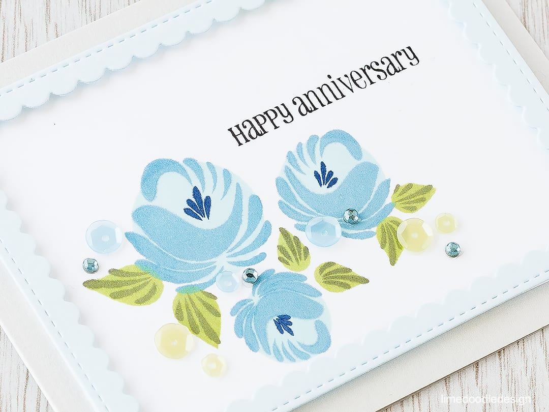 Looking at the placing these gorgeous flowers with the rule of thirds. Find out more by clicking on the following link: https://limedoodledesign.com/2016/02/framed-florals-rule-of-thirds/ anniversary card