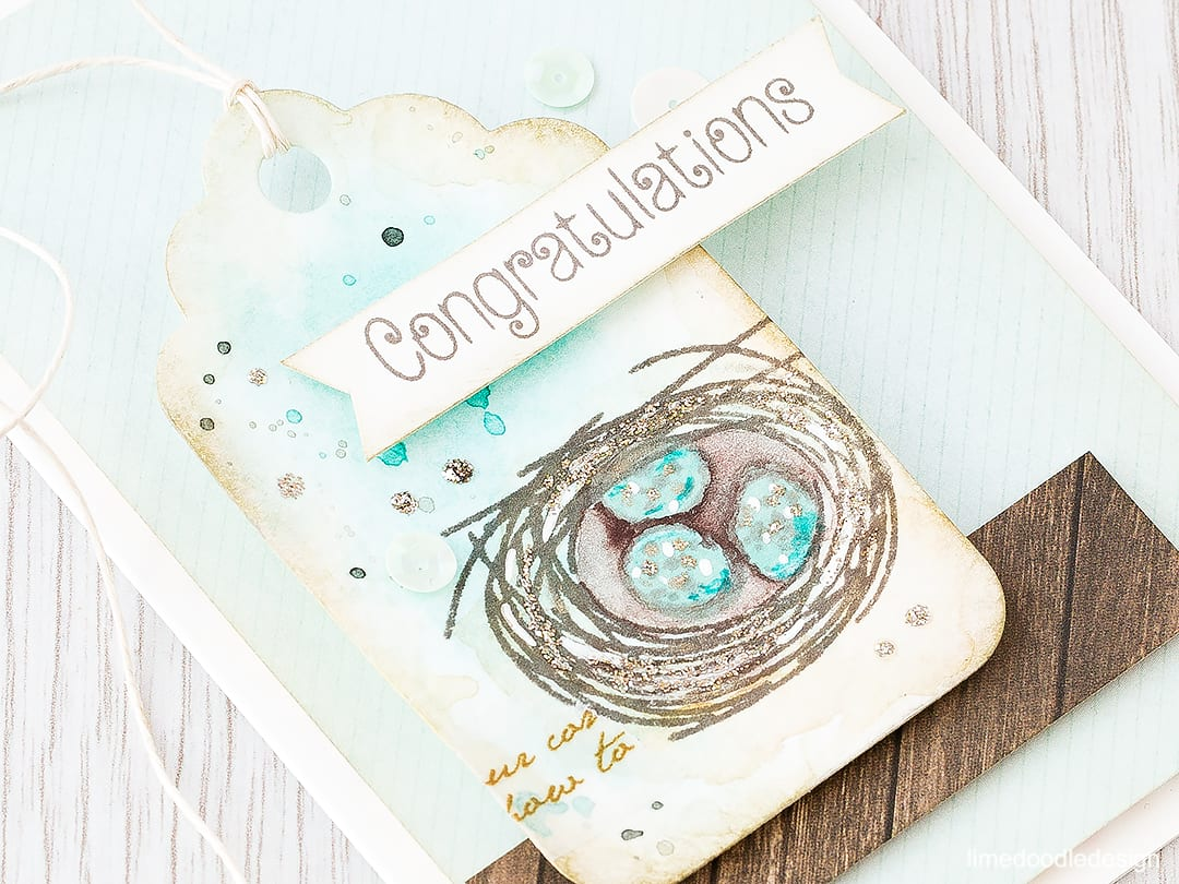 Nature inspired baby card. Find out more by clicking the following link: https://limedoodledesign.com/2016/02/nature-inspired-baby-card/