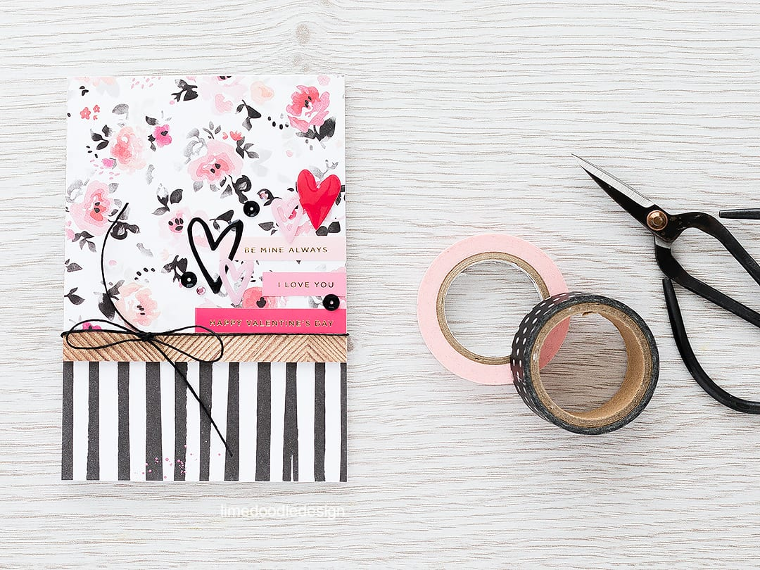 Layering papers & stickers for a quick and easy valentine card. Find out more by clicking the following link: https://limedoodledesign.com/2016/02/layering-papers-stickers/