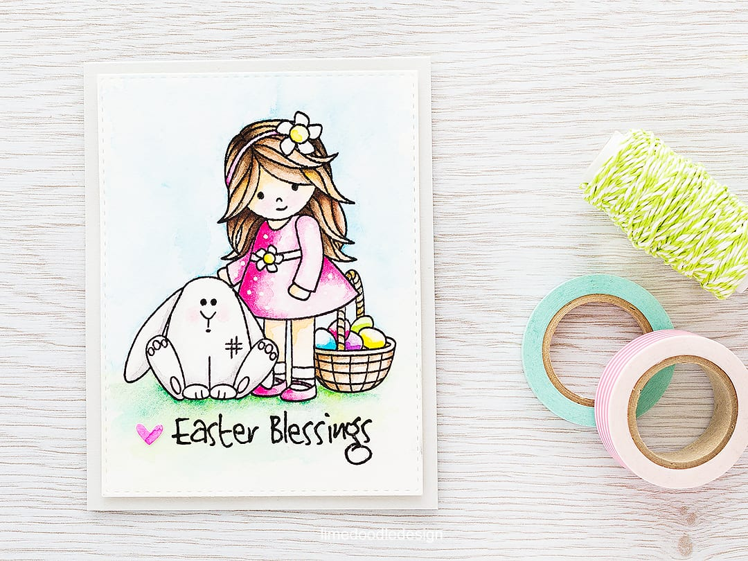 Watercolored Easter scene. Find out more by clicking the following link: https://limedoodledesign.com/2016/02/easter-scene/ card rabbit easter egg girl flower