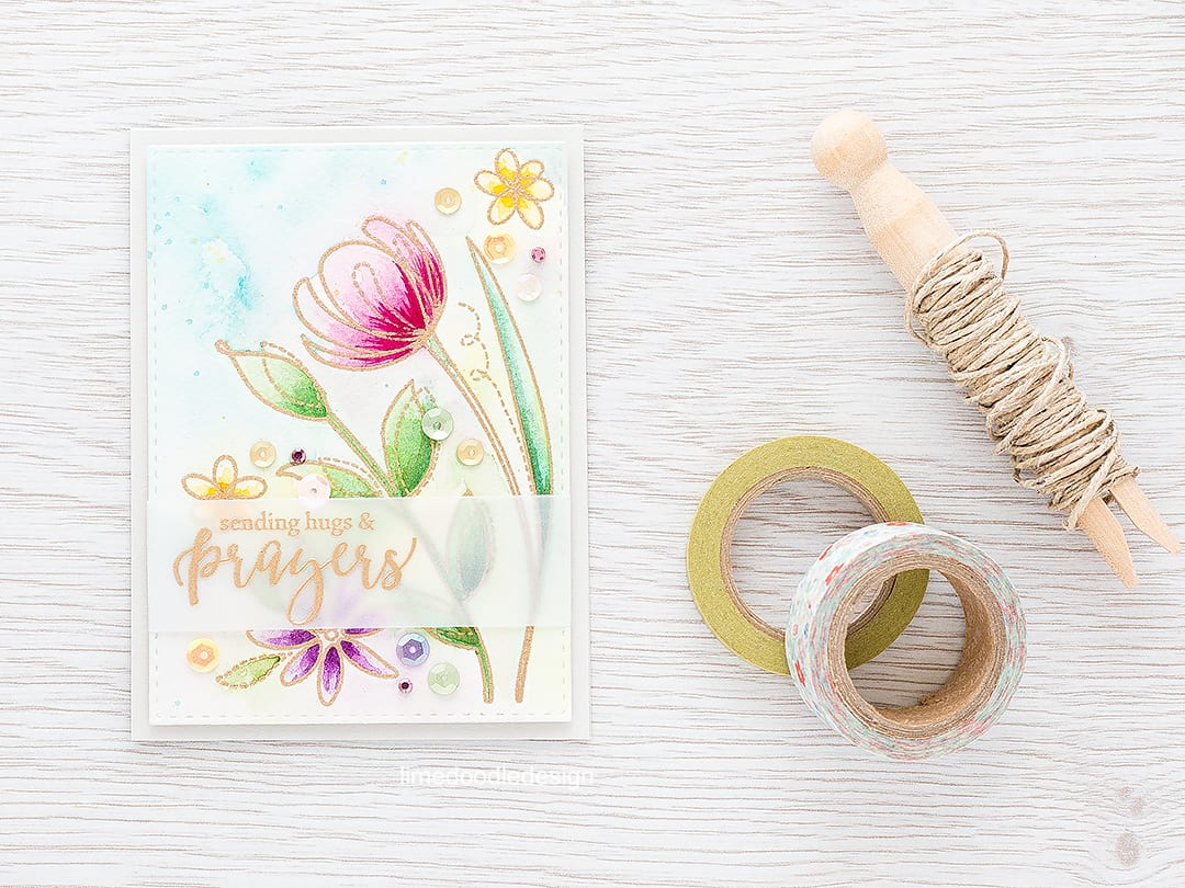 Watercolored wild flower meadow. Find out more by clicking on the following link: https://limedoodledesign.com/2016/02/watercolored-wild-flower-meadow/ hugs prayers sympathy card