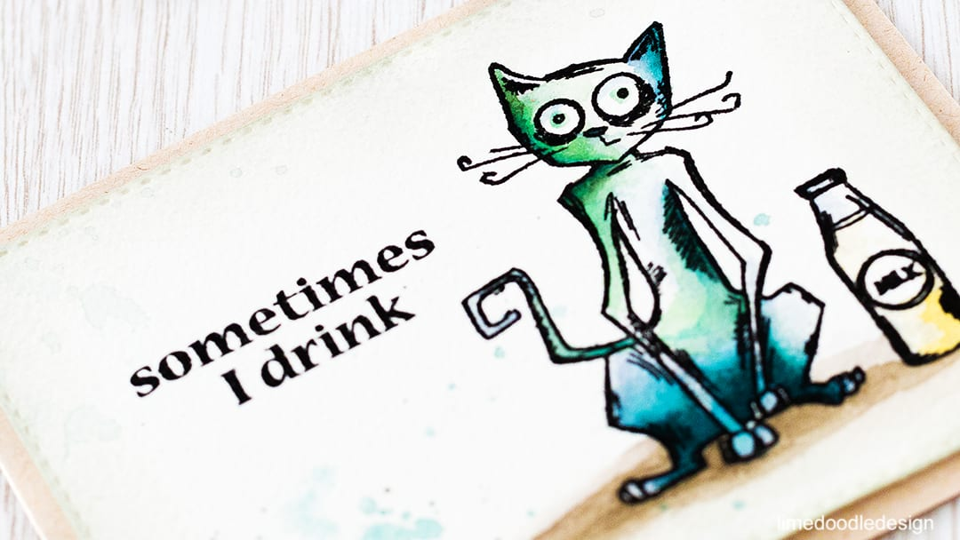 The Crazy Cats from Tim Holtz are so much fun! Find out more by clicking the following link: https://limedoodledesign.com/2016/02/crazy-cats/ cat greeting card fun drink alcohol
