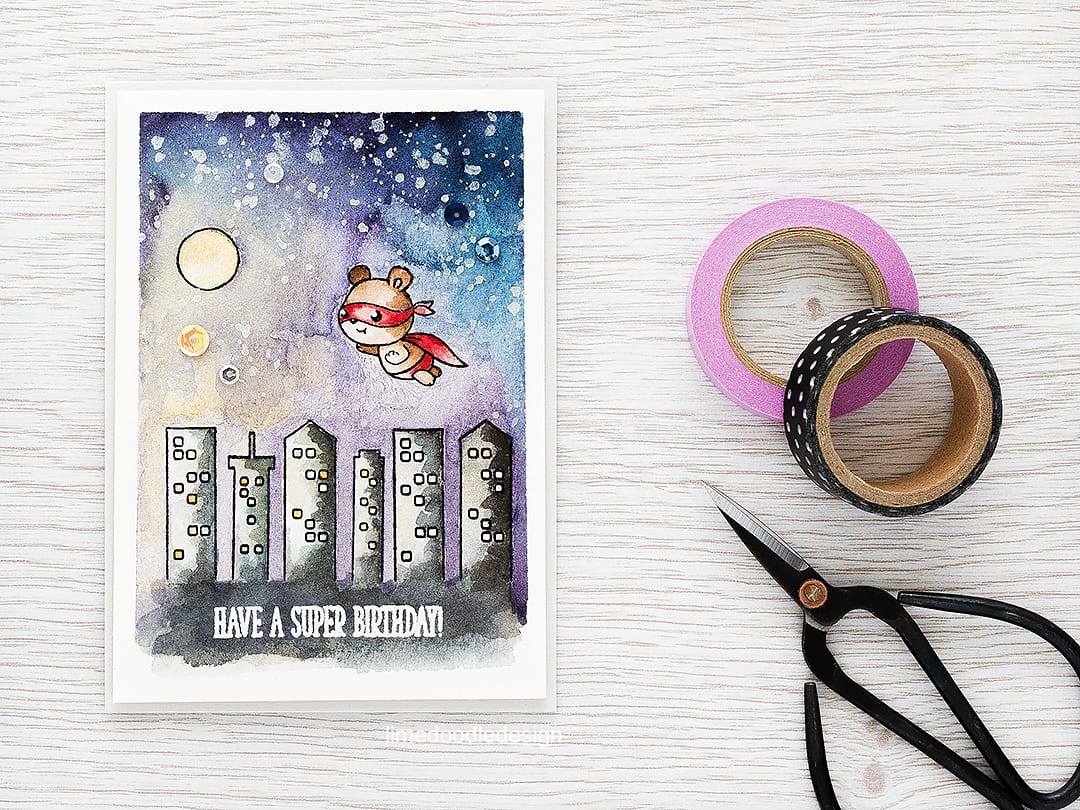 Watercolored night sky with a caped super Ted! Find out more by clicking the following link: https://limedoodledesign.com/2016/03/watercolored-night-sky/