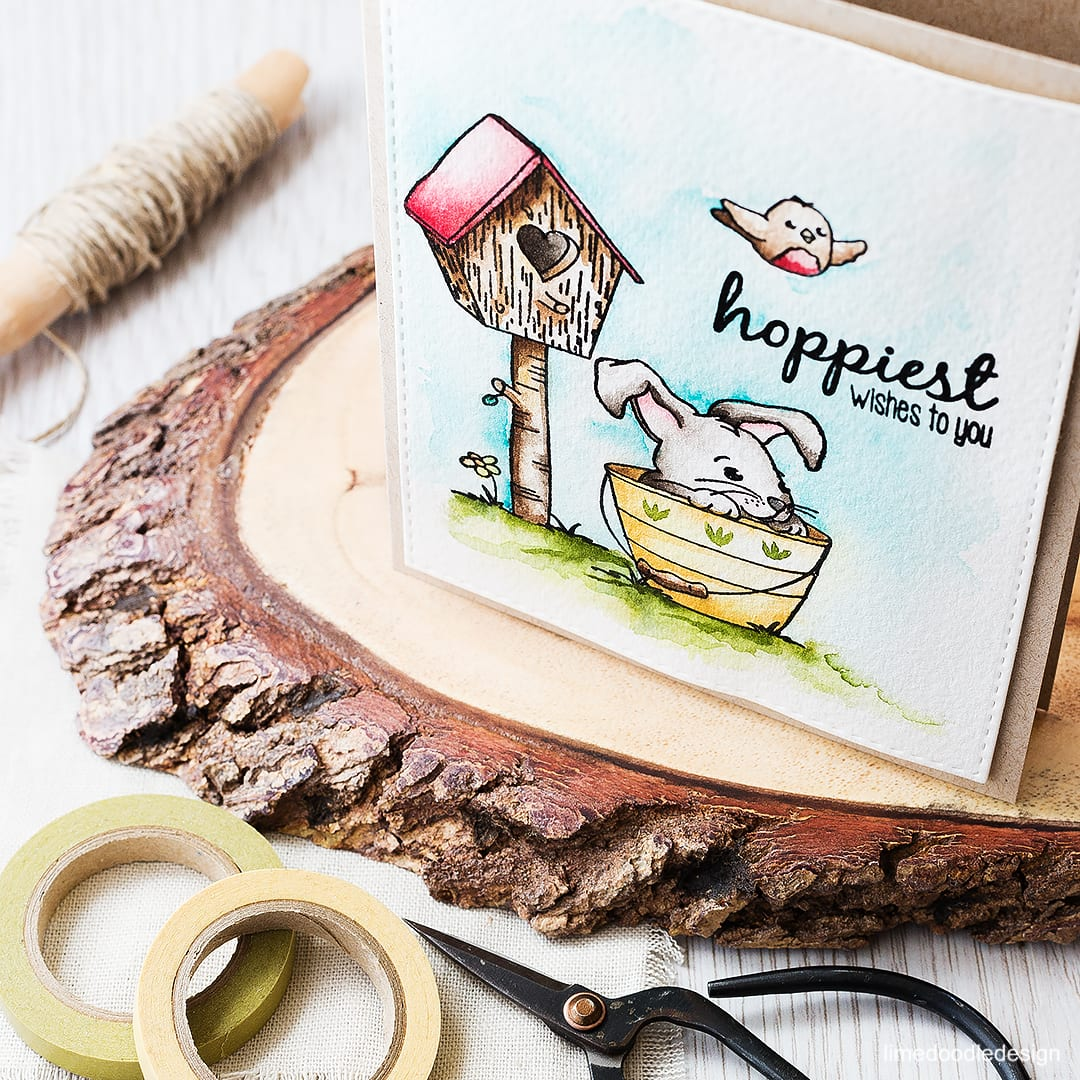 Watercolored scene - using an Easter set to create a card that could equally be used for other occasions too. Find out more by clicking on the following link: https://limedoodledesign.com/2016/03/watercolored-scene/