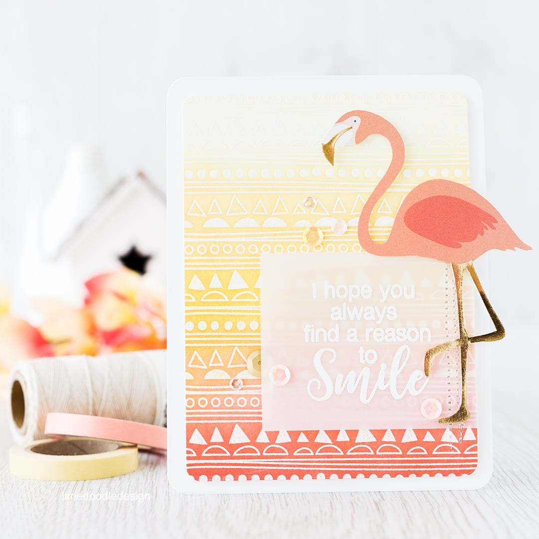 Ink blended background to go with this fun flamingo! Find out more by clicking on the following link: https://limedoodledesign.com/2016/03/ink-blended-background-2/ card bird smile