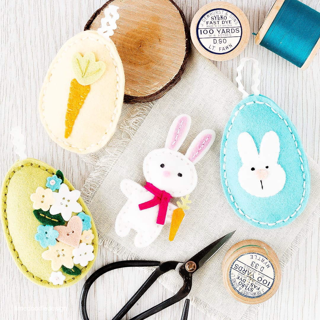 Spring plush bunny and eggs. Find out more by clicking on the following link: https://limedoodledesign.com/2016/03/spring-plush-hop/