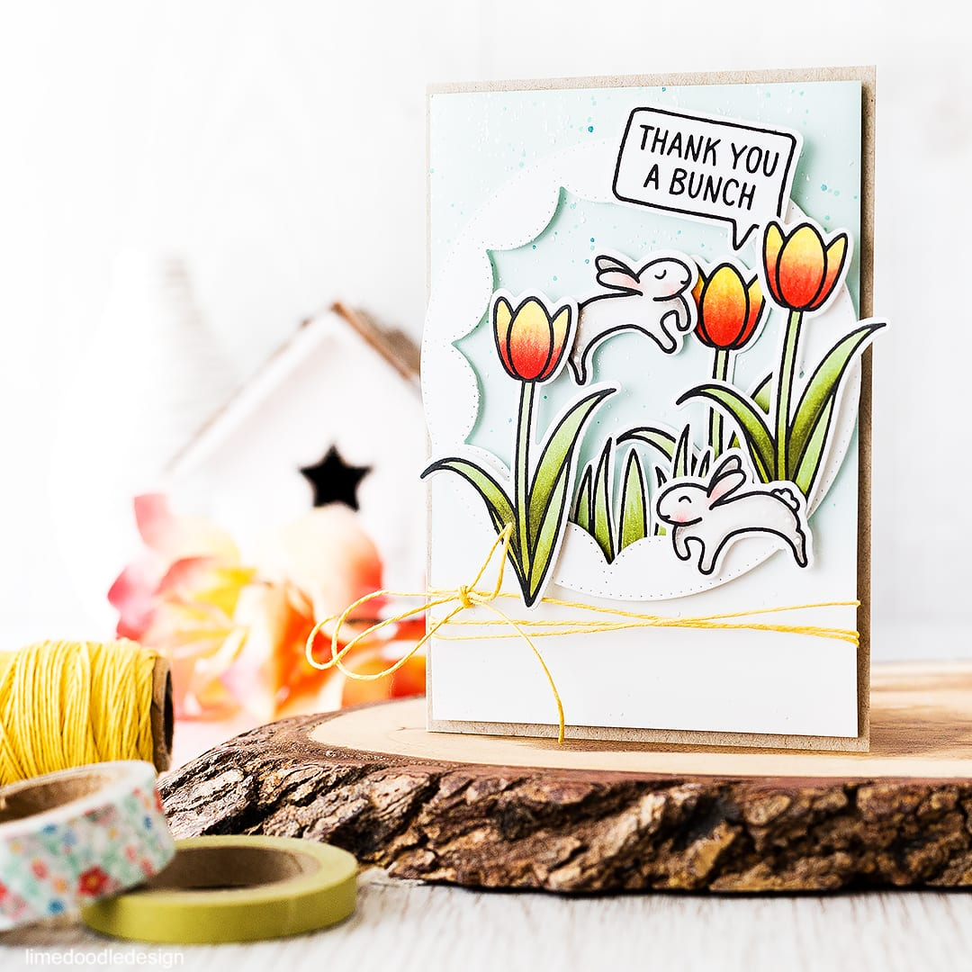 Leaping spring bunnies in a field of tulips? Of course! Find out more by clicking on the following link: https://limedoodledesign.com/2016/03/more-bunnies/