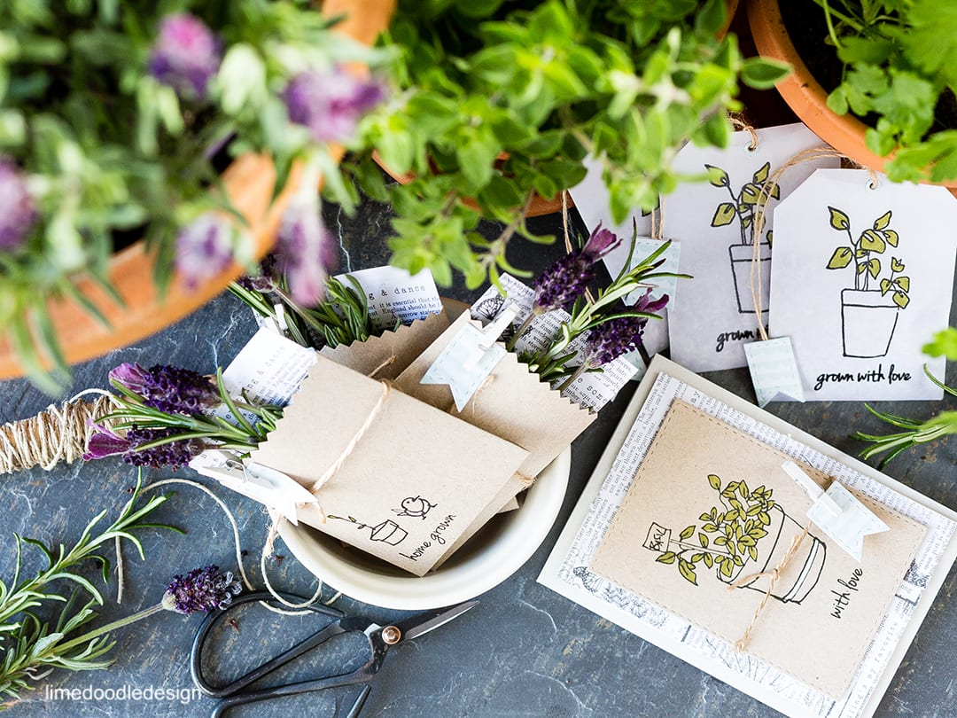 Herb garden set with card, seed packets and lavender tea bag pockets. Find out more by clicking the following link: https://limedoodledesign.com/2016/04/altenew-2nd-anniversary-blog-hop/ packaging