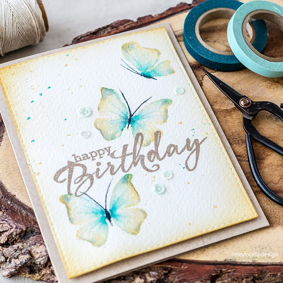 Watercolored butterflies birthday card. Find out more by clicking on the following link: https://limedoodledesign.com/2016/04/watercolored-butterflies/