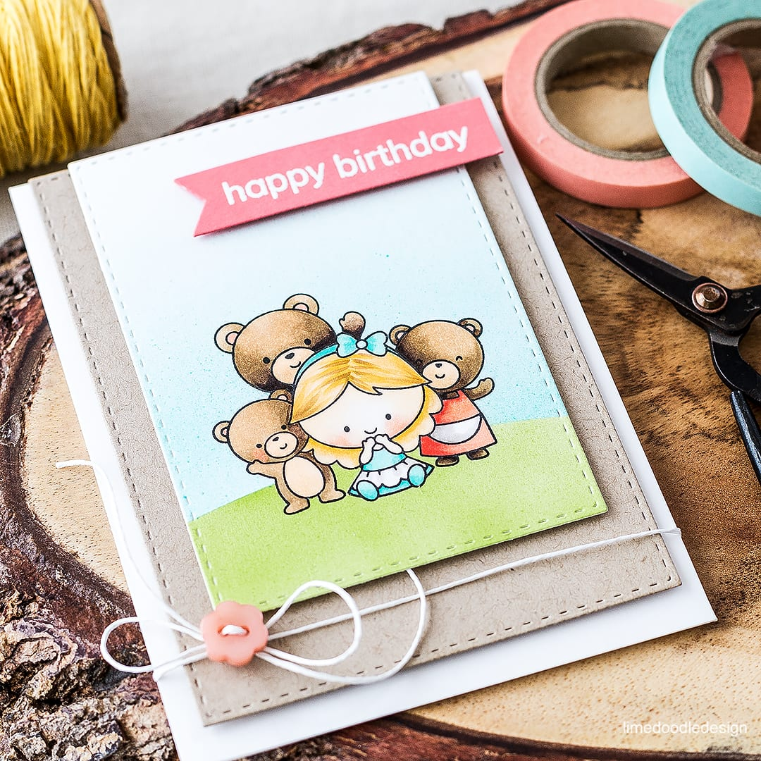 Goldilocks and the three bears birthday card with off set panels. Find out more by clicking on the following link: https://limedoodledesign.com/2016/04/off-set-panels/