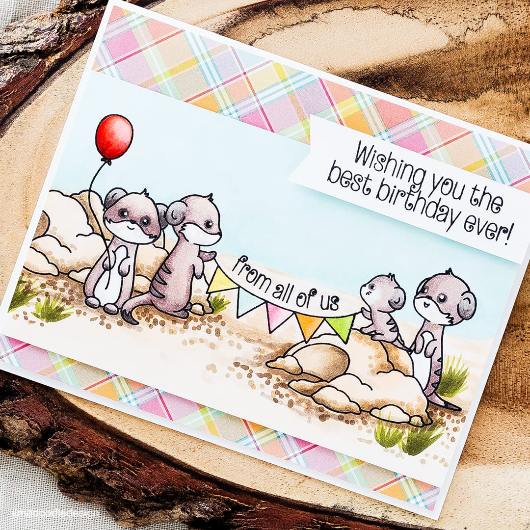 Masking a scene for a meerkat birthday card! Find out more by clicking on the following link: https://limedoodledesign.com/2016/04/masking-a-scene-2/