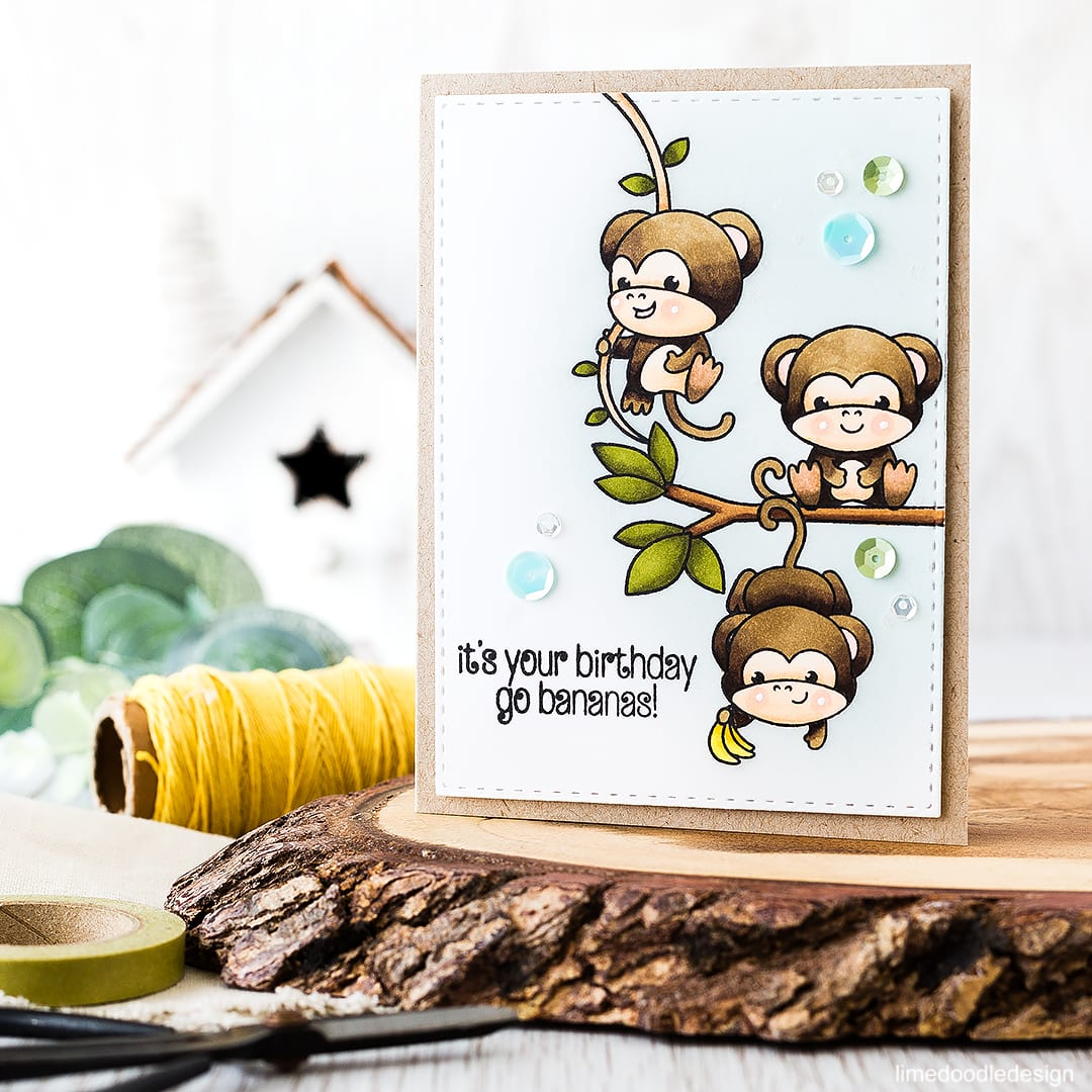 Cute cascading monkeys birthday card 🐒 🐵 😃 Find out more by clicking on the following link: https://limedoodledesign.com/2016/04/cascading-monkeys/