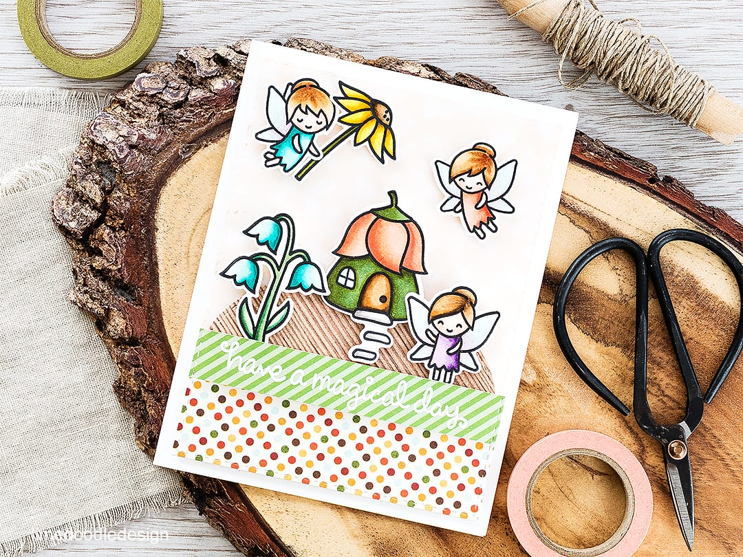 A cute fairy garden birthday card. Find out more by clicking on the following link: https://limedoodledesign.com/2016/04/fairy-garden/