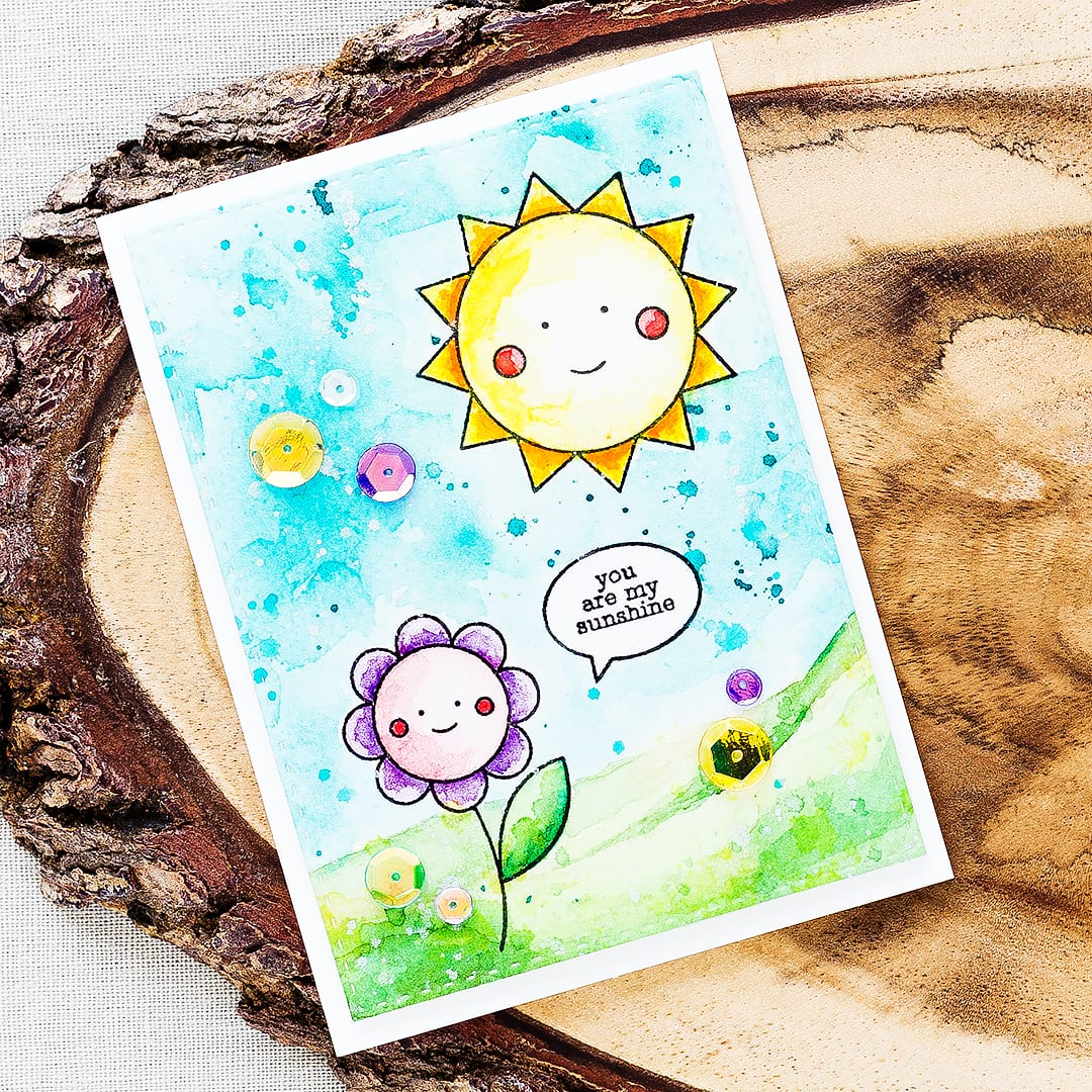 Watercolored card packed with sunshine and happiness using the May Card Kit from Simon Says Stamp. Find out more by clicking on the following link: https://limedoodledesign.com/2016/04/may-card-kit/