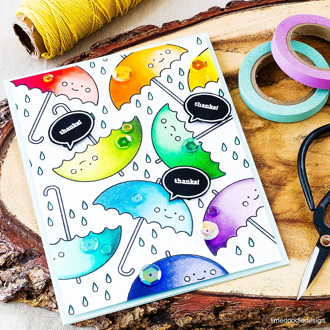 A bushel of rainbow colored brollies for this fun thank you card. Find out more by clicking on the following link: https://limedoodledesign.com/2016/04/rainbow-umbrellas/