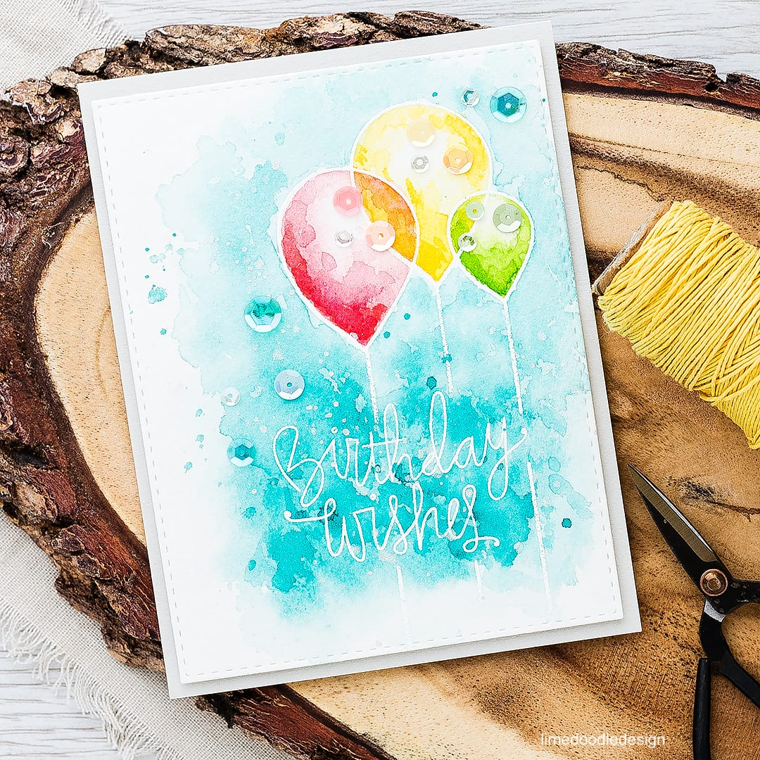 Birthday card with simple watercolored layers. For a video tutorial and more information please visit: https://limedoodledesign.com/2016/04/video-simple-watercolored-layers/ birthday card balloon