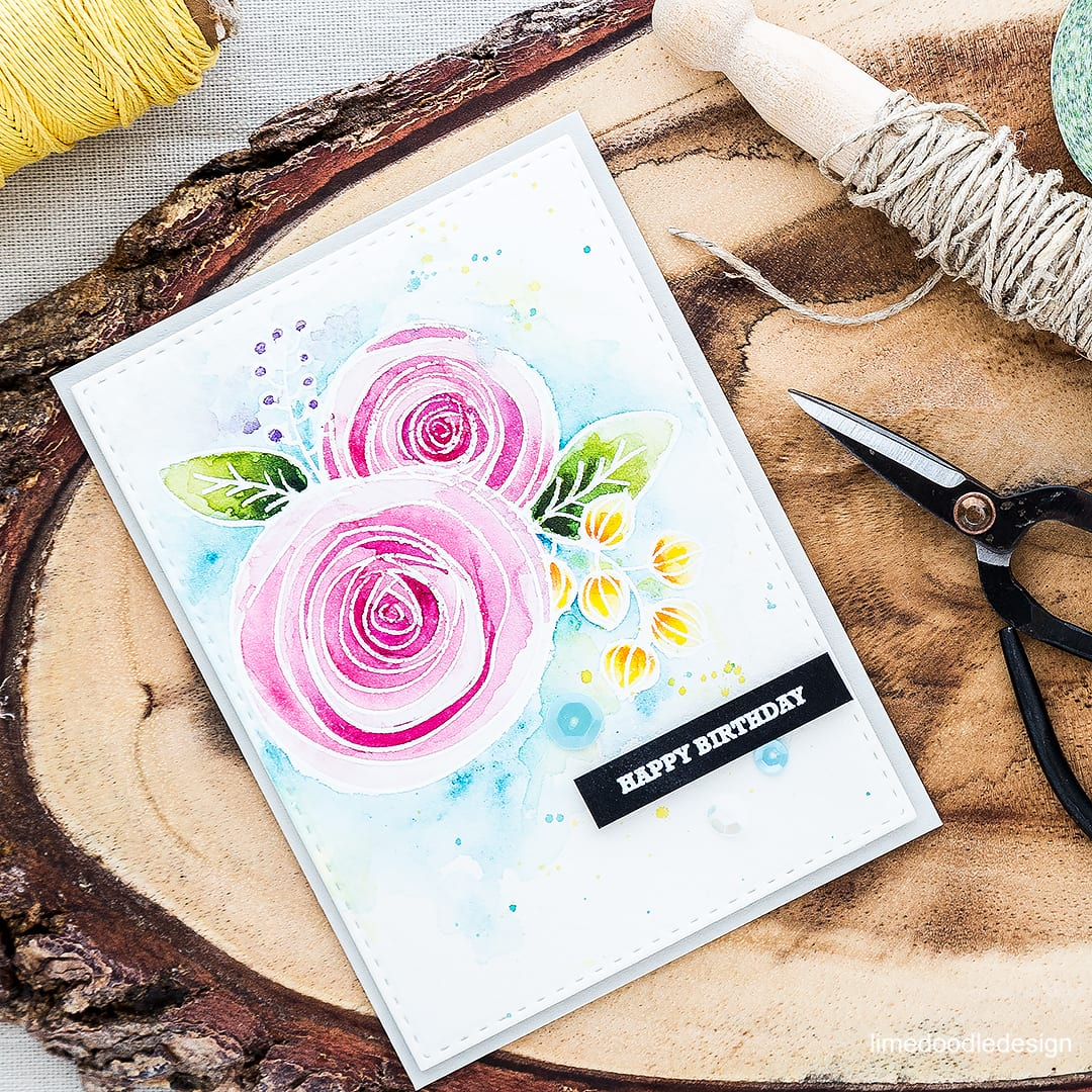 Sketch flowers watercolored birthday card. Find out more by clicking on the following link: https://limedoodledesign.com/2016/04/sketch-flowers/ ranunculus