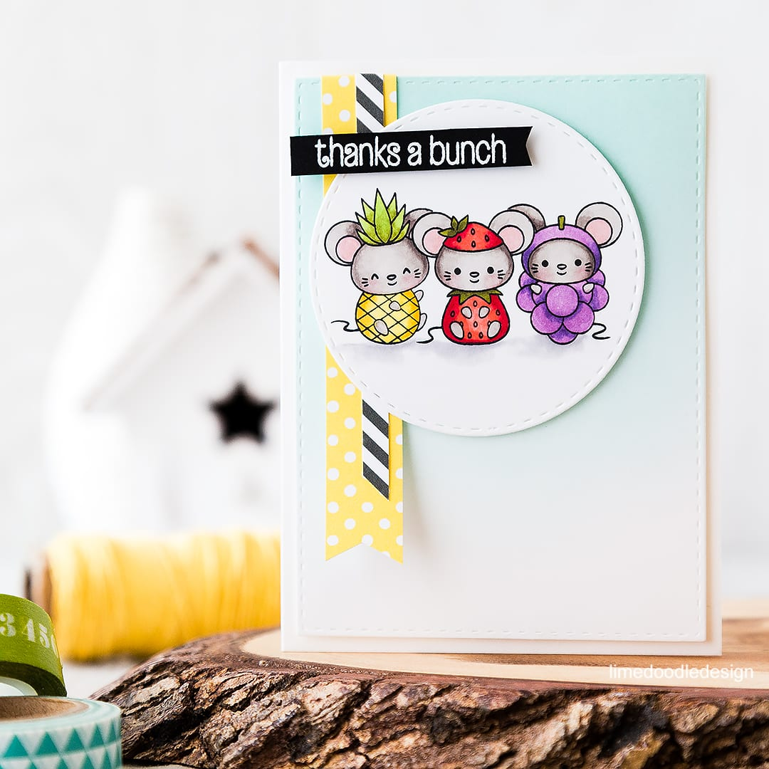 Cute fruit! Adorable mice dressed as fruit make for a fun card! Find out more by clicking on the following link: https://limedoodledesign.com/2016/05/cute-fruit/