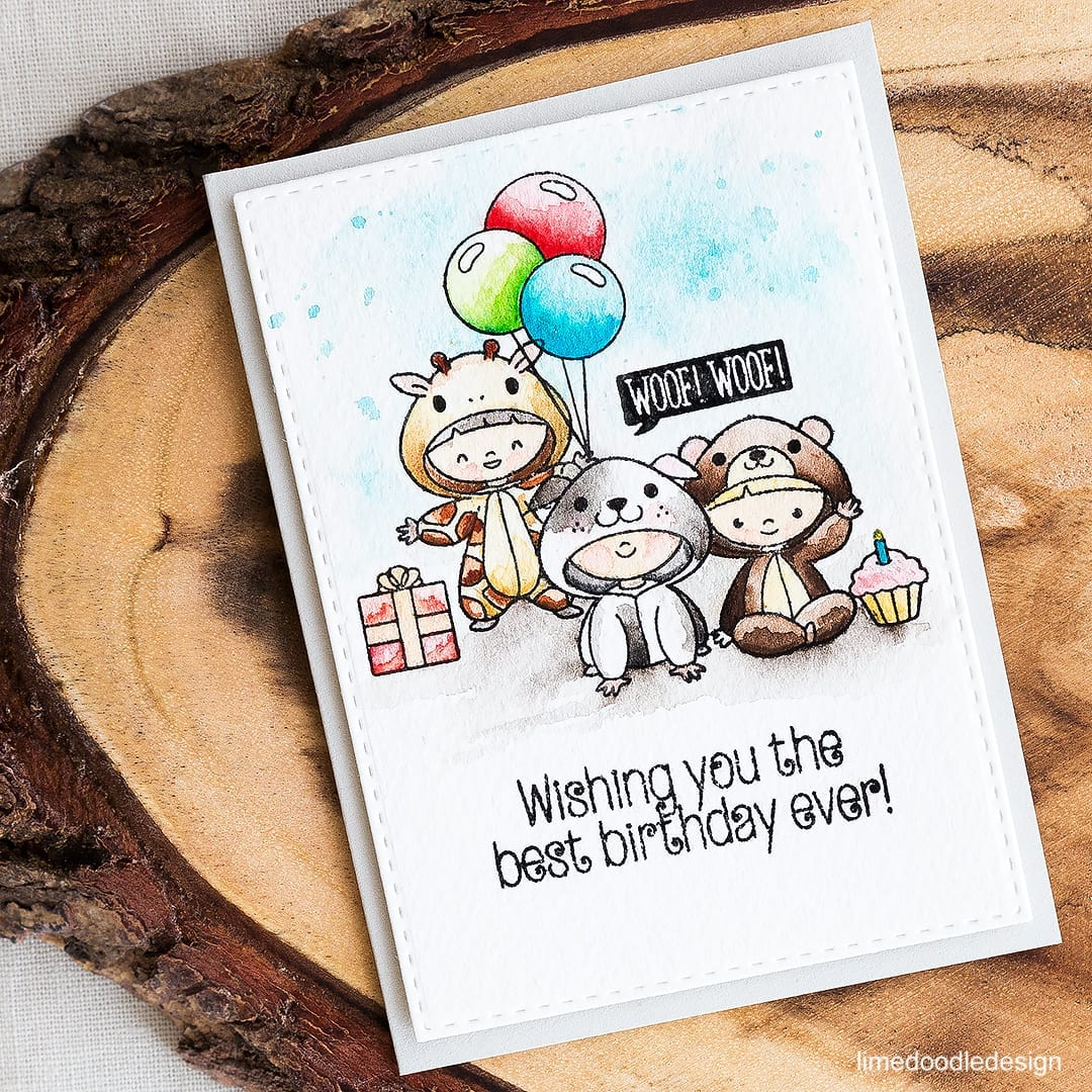 Cute as can be watercolored onesies birthday card. Find out more by clicking on the following link: https://limedoodledesign.com/2016/05/watercolored-onesies/