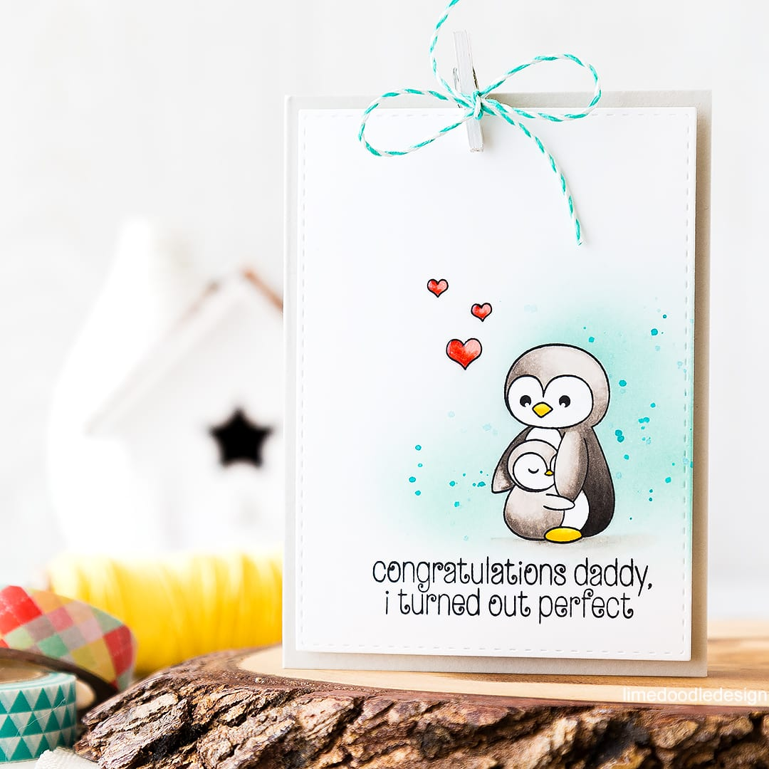 Cute Father's Day card. Find out more by clicking on the following link: https://limedoodledesign.com/2016/05/cute-fathers-day-card/ penguin