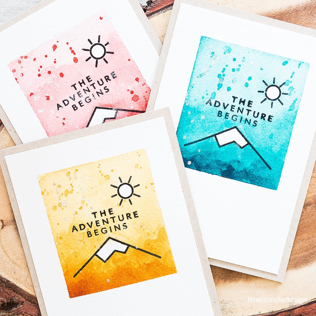 Retro adventure icons for a fun watercolored card. Find out more by clicking on the following link: https://limedoodledesign.com/2016/05/summer-is-here/