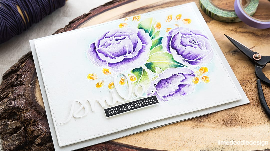 White heat embossed and watercolored off set florals card. Find out more by clicking on the following link: https://limedoodledesign.com/2016/05/off-set-florals/