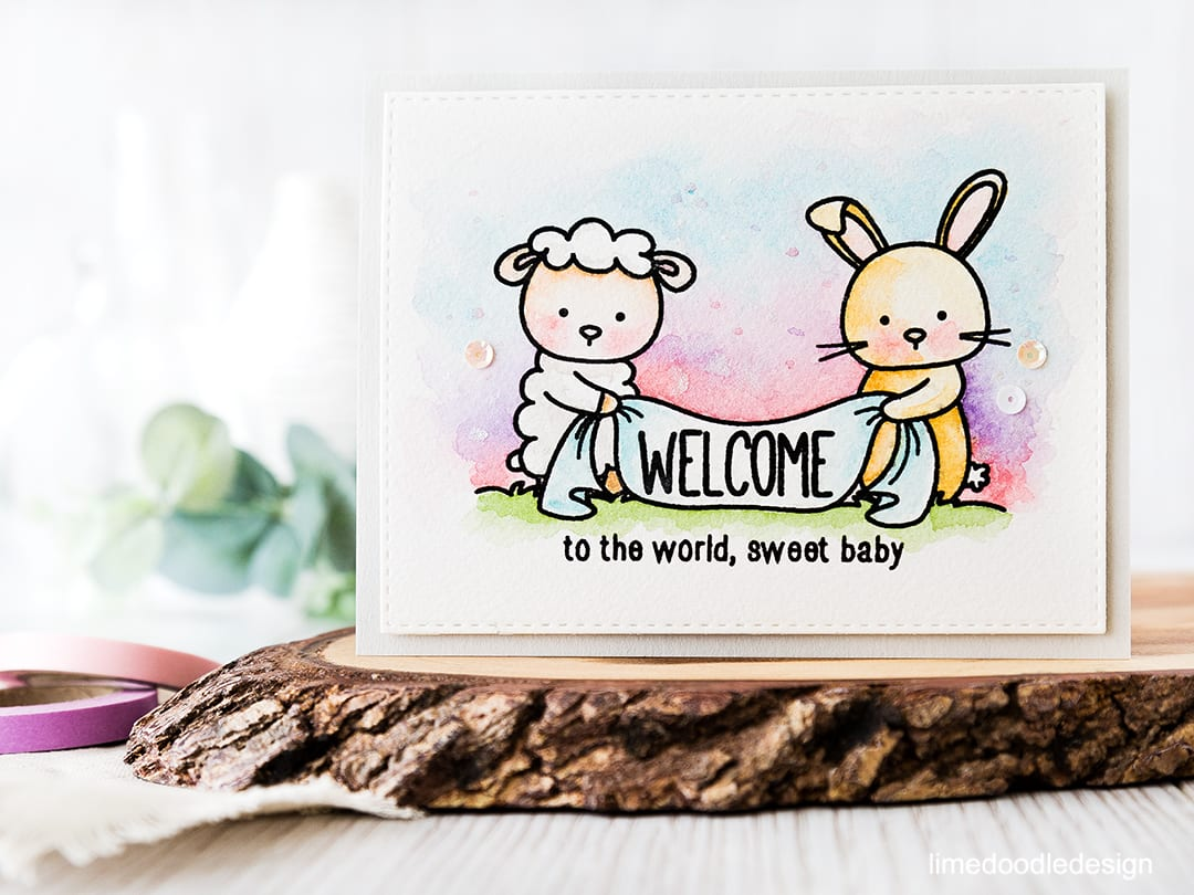 Cuteness overload with this sweet image to welcome a new baby. Find out more by clicking on the following link: https://limedoodledesign.com/2016/05/welcome-baby-3/ baby card rabbit sheep