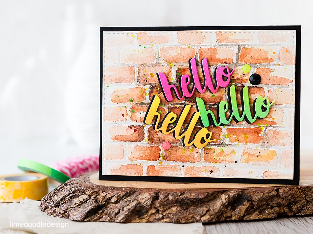 Using a die to impress a brick wall background on this graffiti card. Find out more by clicking on the following link: https://limedoodledesign.com/2016/05/die-mensional-background-graffiti-card/
