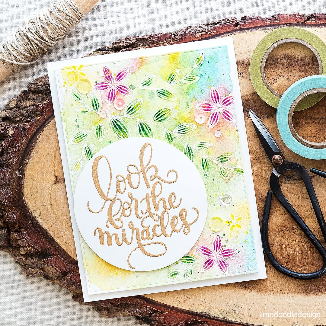 Pretty watercolored card with a focal point sentiment. Find out more by clicking on the following link: https://limedoodledesign.com/2016/05/sentiment-focal-point/