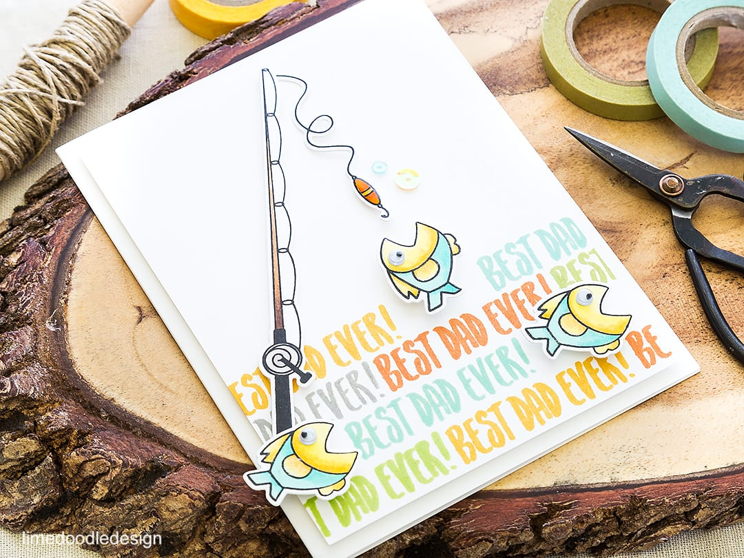 Best Dad Ever! Cute fishy Father's Day card. Find out more by clicking on the following link: https://limedoodledesign.com/2016/05/best-dad-ever/