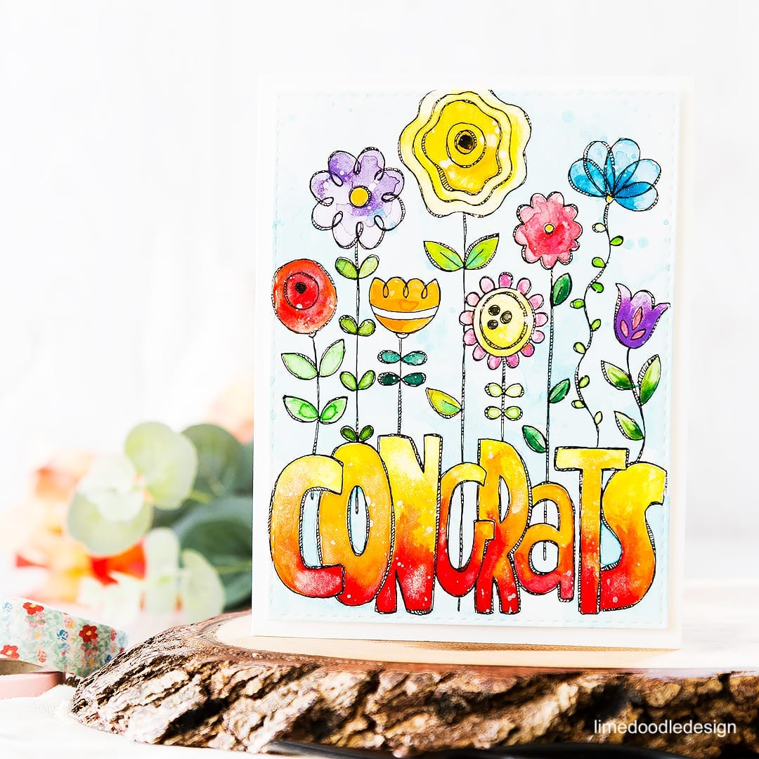 Colorful congrats watercolored card. Find out more by clicking on the following link: https://limedoodledesign.com/2016/05/colorful-congrats/