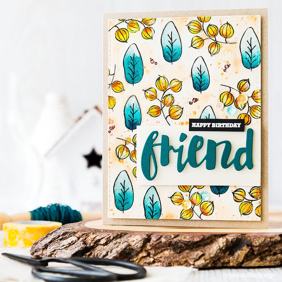 Using the Misti to stamp a patterned background. Mini Misti giveaway too! Find out more by clicking on the following link: https://limedoodledesign.com/2016/05/misti-may-nia/