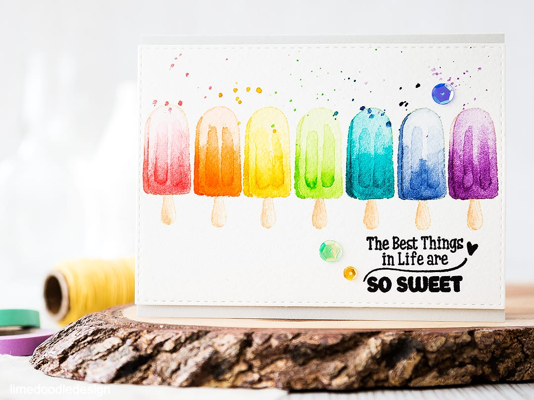 Rainbow watercolored lollies for the Rainbow Card Challenge. Find out more by clicking on the following link: https://limedoodledesign.com/watercolored-lollies-for-the-rainbow-card-challenge/