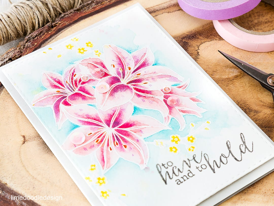 Soft and elegant watercolored wedding card. Find out more by clicking on the following link: https://limedoodledesign.com/2016/06/wedding-season/