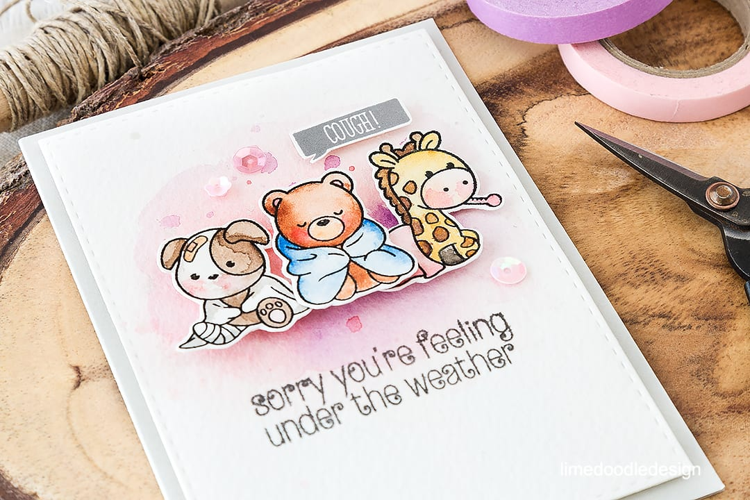 Get well soon card - cute critters make you better when you are feeling under the weather! Find out more by clicking on the following link: https://limedoodledesign.com/2016/06/under-the-weather/