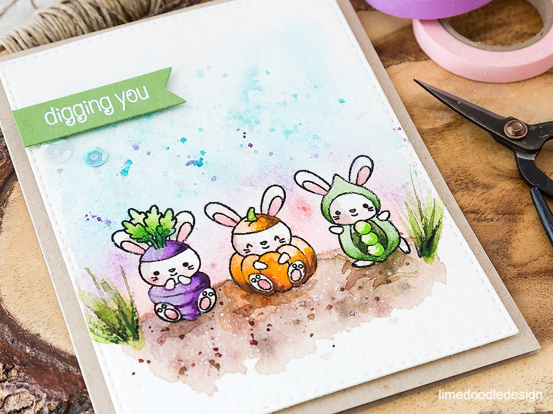 Cutest vegetable patch on the block! Find out more by clicking on the following link: https://limedoodledesign.com/2016/06/vegetable-patch/ watercolor card