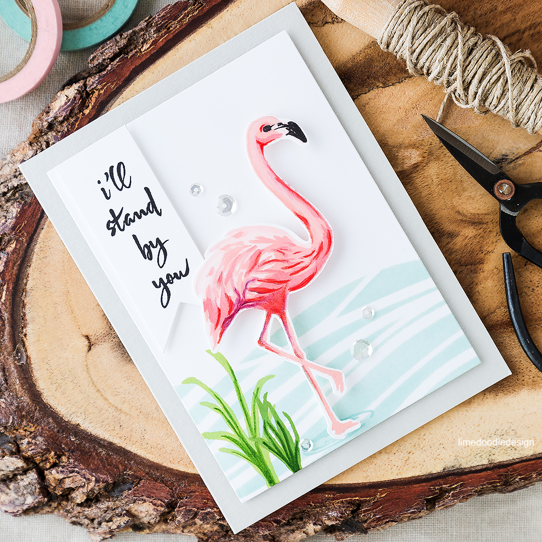 Who doesn't love flamingos?! The Hero Arts flamingo makes a stunning focal point for this card. Find out more by clicking on the following link: https://limedoodledesign.com/2016/06/who-doesnt-love-flamingos/