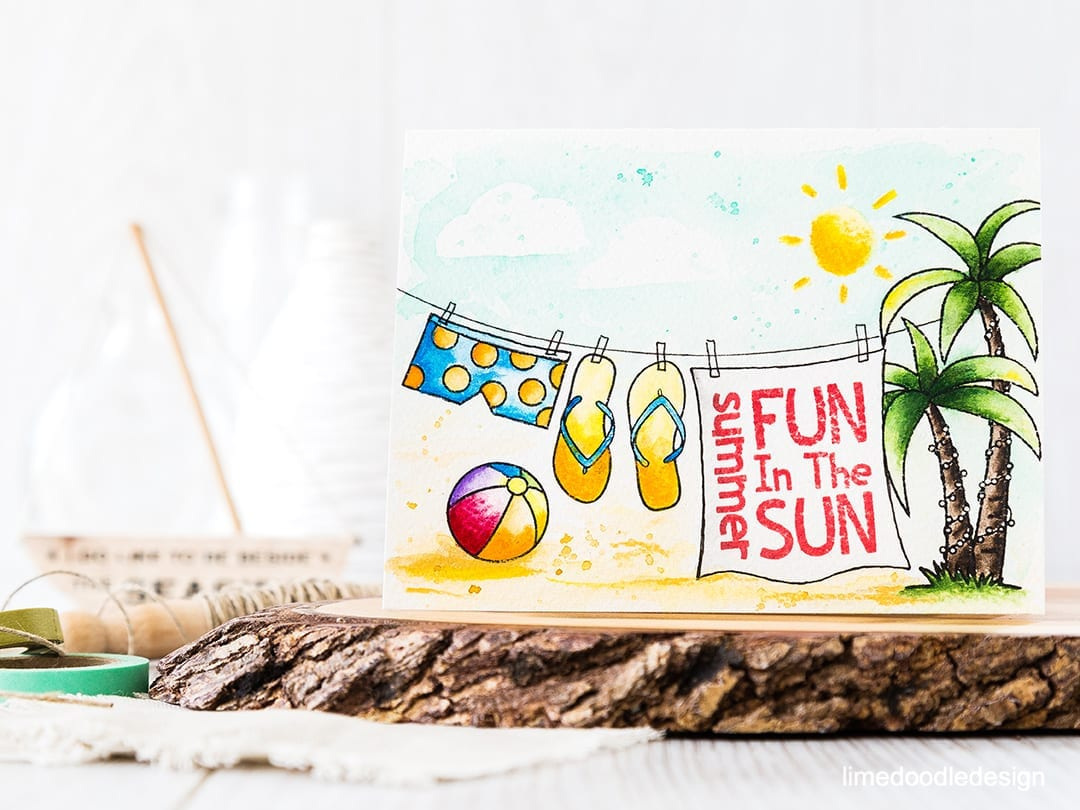 Summer fun in the sun, one layer, watercolored clothes line style card. Find out more by clicking on the following link: https://limedoodledesign.com/2016/06/summer-fun-in-the-sun/
